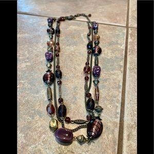 Premier design triple strand art glass bead